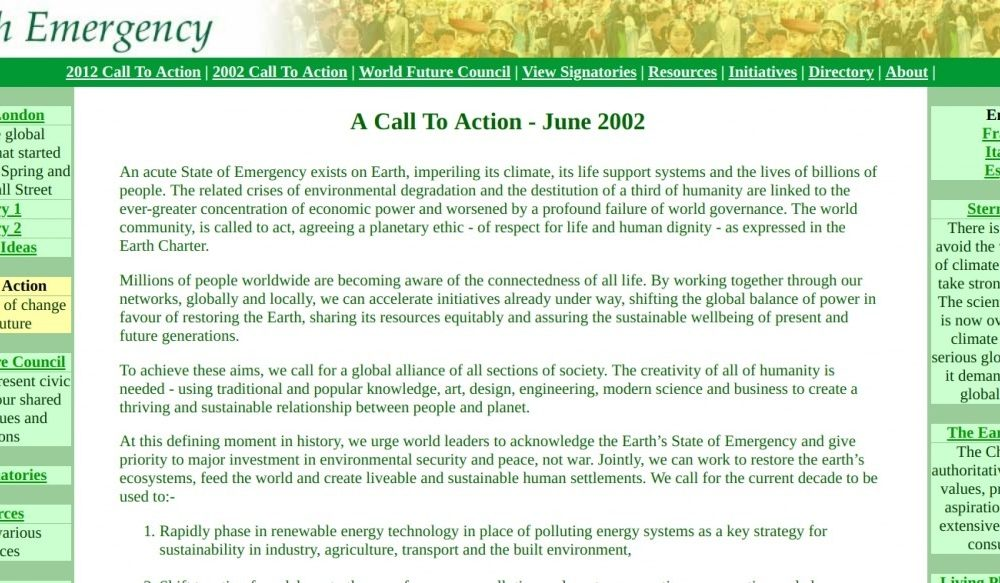 Earth Emergency – A Call to Action 2002 and 2012